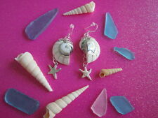 Beach Jewelry Very Unique Sterling Silver Shell Earrings W/ Charm