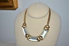 NWT $295 Alexis Bittar Vert D'Eau Chevron Link Necklace Ivory-color Lucite Gold