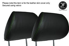 GREEN STICH 2X FRONT HEADREST SKIN COVERS FITS HONDA CIVIC FK2 TYPE S MK8 06-12