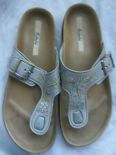 GRENDENE WOMENS SILVER SLIP ON FLIP FLOP BEACH SANDALS SHOES UK 5 - 5.5 EU 39