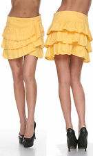 VOGUE WOMENS FASHION YELLOW MEDIUM CASUAL SLIM COTTON RUFFLE MINI SKIRT