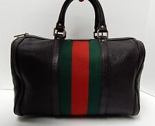 Gucci Boston Brown Leather Red Green Stripe Satchel Bag Italy