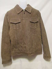 GUESS Mens Lined Leather Jacket L/Large Brown Full Zip Front Snap Cuffs Warm