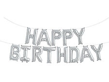 "NEW SELF INFLATING Happy Birthday Balloon Bunting 10"" Foil Letters Banner Silver"