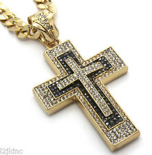 "Mens Large 3 Layer Cross Gold Iced Out Pendant 30"" Inch Necklace Cuban Chain"
