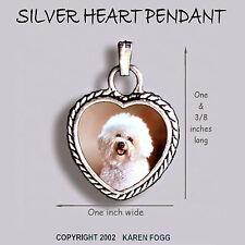 BICHON FRISE DOG Pet Cut - Ornate HEART PENDANT Tibetan Silver