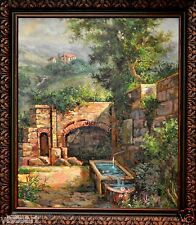 """QUALITY Oil Painting on Canvas in Antique Style 28x32"""" Frame - Sunlit Pool"""