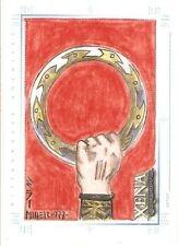 Xena Art and Images Steven Miller Sketch Card  Fisted Chakram color hand drawn