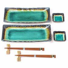 Turquoise Crackleglaze Oblong Plate Set