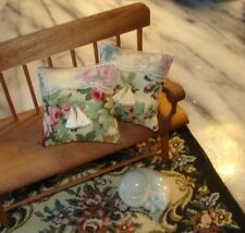 Lot of 2 - Pillows Doll House 1 :12 Scale -Roses and Lace 1 1/2 ""