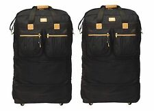 "Pack of 2 - 40"" Black Rolling Wheel Duffel Bag Spinner Suitcase Duffle Luggage"
