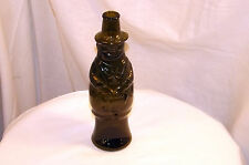 "GREEN GLASS BEER BOTTLE SWISS/BAVARIAN DRESSED FIGURINE  9"" TALL: VGC"