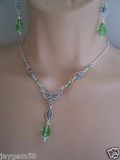 VINTAGE STYLE EARRINGS AND NECKLACE SET PERIDOT SWAROVSKI ELEMENTS WEDDING
