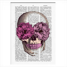 Sugar Skull Vintage Dictionary Art Print Flower Skull Wall Decor