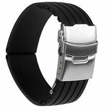22mm Waterproof Watch Band Strap with Stainless Steel Deployment Clasp Buckle HP