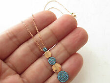 TURKISH ROSE GOLD 925K STERLING SILVER TURQUOISE HANDMADE ROUND NECKLACE