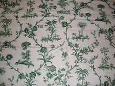 "Brunschwig & Fils ""West Indies Toile"" fabric remnants sample 47"" x 55""  Green Wh"