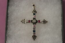 Superb 925Cross With Garnet - Amethyst - Zircon And Marcasite 11.3 Gr. 6x4 Cm. W