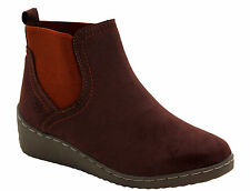 New Womens Ladies Low Wedge Heel Gusset casual Riding Chelsea Ankle Boots Shoes