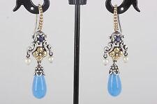 STERLING VINTAGE 18K BIXBY CHINA PEARL, AMETHYST & BLUE STONES EARRINGS 925 1552