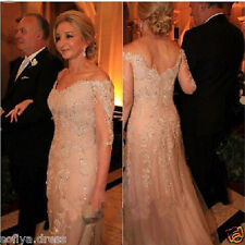 Elegant Mother of The 3/4 Sleeve Bride Beaded Long Evening Dress Party Prom Gown