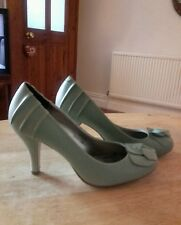beautiful sage green leather court shoe, size4.5 (M&S).