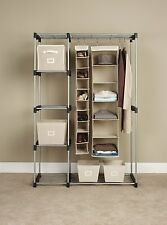 Double Rod Closet Organizer Hanger Dressing Room Freestanding Storage Clothes