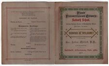 1877 FIRST PRESBYTERIAN CHURCH Chicago Illinois WELCOME SERVICE PROGRAM School