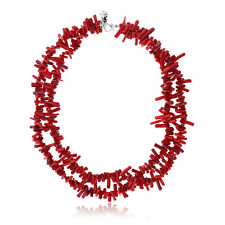 "17"" Beautiful 2-Row Red Coral Chips Necklace +  2 Extenstion Heart Shape Clasp"
