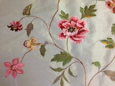 Claridge Textile faux silk flower embroidery fabric by the yard pillows drapery