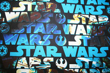 STAR WARS FABRIC!  LARGE LETTERING WITH STAR WARS SCENE PICTURES SHOWING