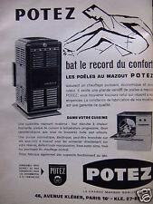 PUBLICITÉ 1959 POTEZ LES POÊLES AU MAZOUT RECORD DU MONDE  - ADVERTISING
