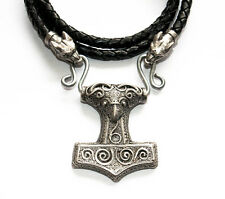 Thor's Hammer leather necklace with wolf's heads. Viking talisman. Norse, New