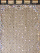 Black Curtain Panel - Zardozi Embroidered Beaded India Window Treatments 92""