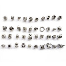 40pcs Antique Silver Plated Oxidized Beads Mixed Variety Set Charms Bracelet New