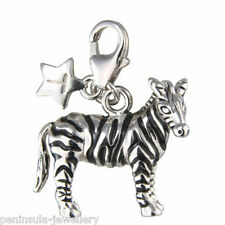 Sterling Silver clip on Charm Tingle Zebra with Gift Box and Bag