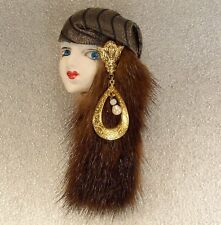 LADY HEAD FACE Porcelain-Look Resin Brooch PinGypsy Flapper mink hair Handmade