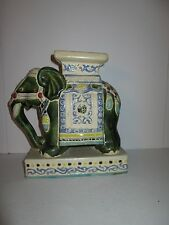 "Vintage Hand Painted Porcelain Ceramic Elephant Figurine Statue 8"" S. Vietnam"