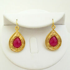 Susan Shaw Gold Plated Teardrop & Genuine Ruby Jade Wire Earrings