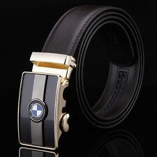 Fashion mens Luxury Leather Belts Brown Waist Strap Automatic Buckle Belt BMW