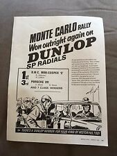 "VINTAGE 1960s ""DUNLOP SP RADIALS MONTE CARLO RALLY"" TYRES CAR ORIGINAL ADVERT"