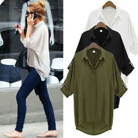 NEW Womens Blouse New Chiffon Long Sleeve Ladies Top T shirt Loose Short Tops