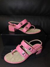 NIB CHANEL CC Classic Quilted Leather CC Turn Lock Sandals Heels Shoes 37.5 7 US