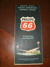 PHILLIPS 66 MAP, 1964, PACIFIC COAST,ROCKY MOUNTAIN, CENTRAL STATES