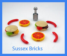 Lego Food Drink - 2x Hamburger 2x Pizza 4x Hot Dog Cola Bottle - City New Pieces
