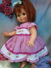 """VINTAGE pink gingham DOLL dress EMBROIDERY hearts POLKA DOT ribbons BOWS fit 24"""""""