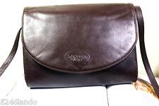 Vintage LANVIN Brown Leather Small Sling Shoulder Clutch Bag France