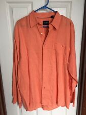 Men's Indigo Palms By Tommy Bahama 100% Linen Long Sleeve Shirt XL Peach