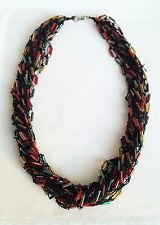 Handmade Multi Strand Crochet Necklace Brown With Autumn Colour Tube Beads