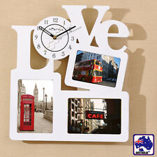 Wooden Love Wall Clock Photo Picture Frame Home Decor Hollow HCLOC2960